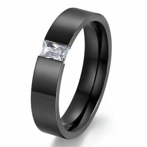 Handmade Gift Men's Titanium Stainless Steel Charm Rings Size 8-11 With Zircon