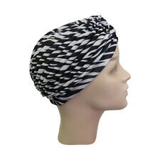 Womans Turban Pleated Hat Head Wrap Black & White Zebra Print Soft Cap