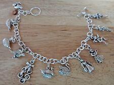 "9"" Sterling Silver Large Hvy 51 gram 12 days of Christmas Charm Bracelet"