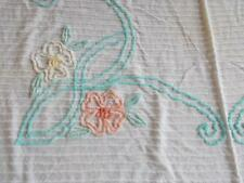 CUTTER  White Peach light yellow aqua FLORAL CHENILLE BEDSPREAD fabric vintage