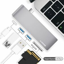X-DNENG USB C Hub with 2 super speed USB 3.0 ports,1 SD memory port,1 micro SD