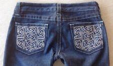 bebe jeans women 28 x 30 dark wash bootcut low rise Mirror embellished pockets
