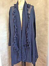 New SOFT SURROUNDINGS CASHMERE Wool Draped Blue Open CARDIGAN Sweater L FRINGE