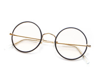 Vintage Savile Row Black & Gold Round Eyeglasses Eyewear Optical Frame RX 47mm