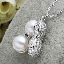 """925 Silver Freshwater Pearl Pendant Pendant Charm Necklace 16""""-20"""" AAA"""