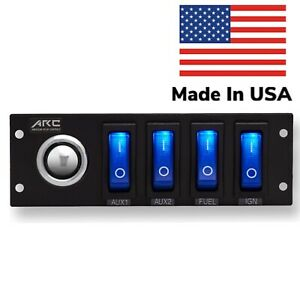Switch Panel 4 Rocker, push button, Blue LED, 12V, Labels and Hardware USA Made.