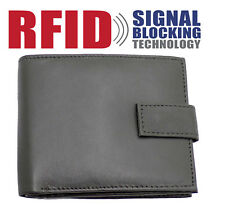 RFID Mens Genuine Leather Wallet With Zip Coin Pocket Purse & ID Window 44 Black