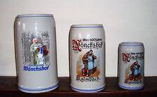 lot de 3 chope gré de biere MONCHSHOF KULMBACHER  5 L3 L 1 L  COLLECTIONNEUR