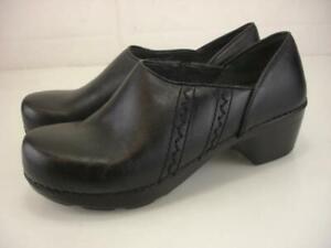 Women's 7.5 8 sz 38 Dansko Sienna Black Leather Clogs Professional Stapled Shoes