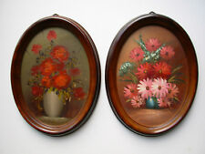 Pair Handpainted Floral Oil Painting Flowers in Vase Oval 8.5x11 Frame Picture
