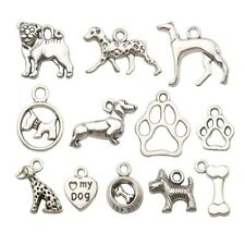 70 PCS Dog Charms, Silver Puppy Paw Bulldog Lover Person Poodle Metal Pendant