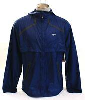 Speedo Navy Blue Zip Front Light Weight Woven Hooded Fitness Jacket Men's NWT