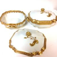Pair of Stunning Gold Decorated Haviland Limoges Covered Tureen