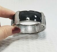 Vintage Silver Tone And Black Enamel Art Deco  Clamper Bracelet