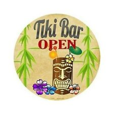 "Outdoor/Indoor Tiki Bar Open Novelty Metal Round Circular Sign 12"""