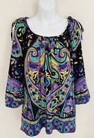 CACHE Women Top Blouse Sz L Cold Shoulder Ties Purple Multicolor 3/4 Sleeve