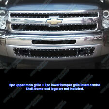 Fits 2007-2013 Chevy Silverado 1500 Black Rivet Mesh Grille Replace Combo Pack