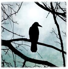 Large Ceramic Tile 6x6 Bird 77 Crow Raven Moon Tree silhouette by L.Dumas