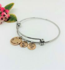 Silver and Rose Gold Personalised Mum Grandma Bangle Bracelet Chick Charms Gift