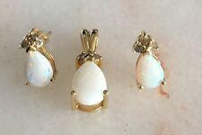 Opal And Diamond Pendant And Earring Set