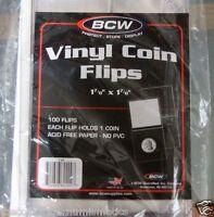 300 BCW Vinyl Coin Stamp Flips Heavy Duty 2x2 + Inserts Acid Free Holder Flip