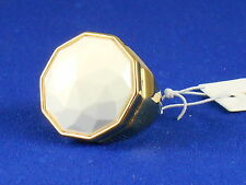 Trina Turk Goldtone Round Faceted White Cocktail Ring Size 7 TTR00027G120 $98