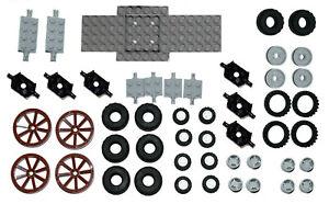 LEGO WHEELS 50 pieces set city BRAND NEW small medium large tyre axle 6118