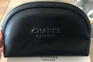 CHANEL VIP GIFT COSMETIC / MAKEUP BAG POUCH CLUTCH - BLACK PVC LEATHER