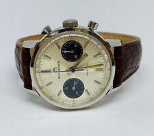 Vintage Stainless Steel Bucherer Chronograph manual Wind Men's Watch Panda Dial