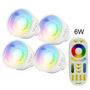Milight RGB CCT Led Bulb Lamp GU10 4W 6W 2.4G RF 4zone remote Dimmable Spotlight
