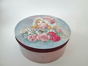 "Shabby Victorian Chic Blue Storage Round Box Girl Roses 6"" Wood"