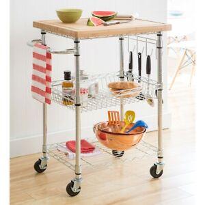 Trinity EcoStorage Bamboo Kitchen Cart, Chrome/Silver - TBFZ-1401