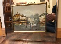 Vintage 1960S Paris Oil Painting By G. Wood Mirrored Frame