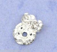 100 Versilbert Rondell Spacer Perlen Beads 6mm