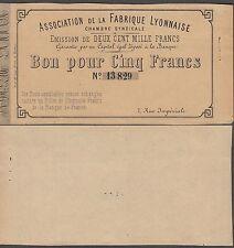 "France-Lyon,""French Emergency Money"" 5 Francs During 1870-1871 War, AU Condition"