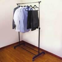JVL Adjustable Garment Rack Clothing Rail Wardrobe with Wheels, Black