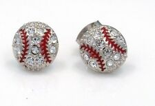 New Baseball Silver Tone Crystal Stud Earrings Let's play ball!