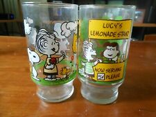 "1966 Two Peanuts 5.5"" Drinking Glasses Lucy's Lemonade Stand & Jump Rope EXMT NR"