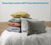 Renee Taylor Lorimer 300TC Stone washed Sheet set 6-Colours