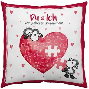 Sheepworld Baumwollkissen Du und ich wir gehören zusammen Liebe Herz Kissen