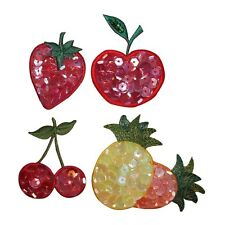 ID 1221A-D Set of 4 Sequin Fruit Apple Cherry Strawberry Iron On Applique Patch