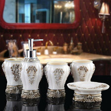 Resin Bathroom Accessories Set Rome Aristocracy Toothbrush Cup Soap Dish 5PCS