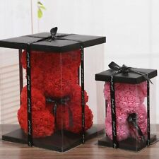 Artificial Teddy Bear Rose Flowers PE Foam Valentines Wedding Gift Box Accessory