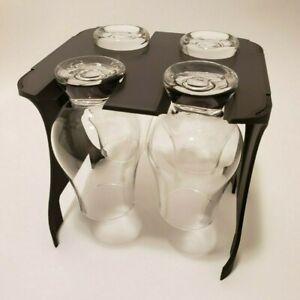 4-Glass Glencairn Whisky Whiskey Glass Holder, Black / Ebony Wood PLA, 1 Pack