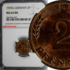 Germany -Federal Republic 1959 G 2 Pfennig NGC MS64 RB TOP GRADED BY NGC KM #106
