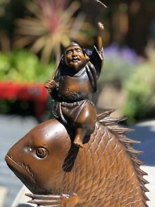 Vintage Japanese Metal Statue of an Old Man Rides a Fish