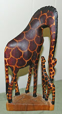 Very Nice Carved/Painted Wood Mother Giraffe And Baby! #6