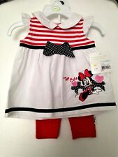 Disney Baby 100% Cotton Two Piece Outfit Set 0-3 Months Minnie White/Red/Black
