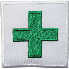 Green First Aid Cross Embroidered Iron Sew On Cloth Patch Medical Badge Transfer