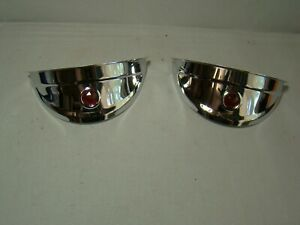 "polished stainless steel head light visors with red jewel 7 inch visors 7"" lids"